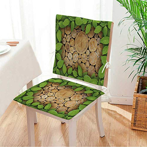 Log Rocker Set - Miki home Chair Pads 2 Piece Set Stacked Logs Background with Green Plant Frame Classic Desig Bistro Chair Cushion Mat:W17 x H17/Backrest:W17 x H36