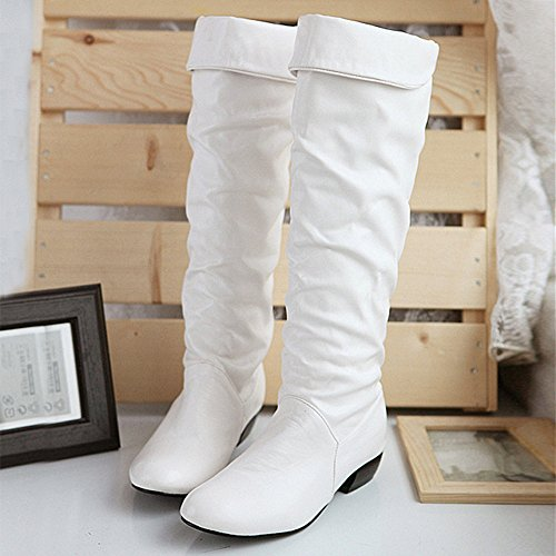 Lenfesh Women's Winter Knee High Boots Flat Heels High Tube Riding Boots White RYTvj