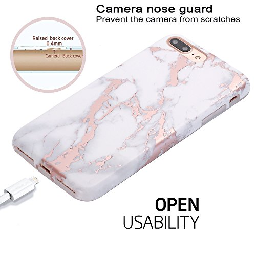 iPhone 7 Plus Case, Shiny Rose Gold White Marble Design, BAISRKE Clear Bumper Matte TPU Soft Rubber Silicone Cover Phone Case for Apple iPhone 7 Plus & iPhone 8 Plus [5.5 inch] by BAISRKE (Image #5)