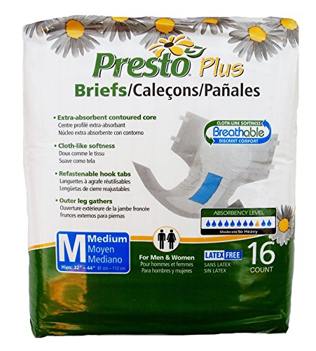 Presto Plus Breathable Briefs Medium One Package of 16