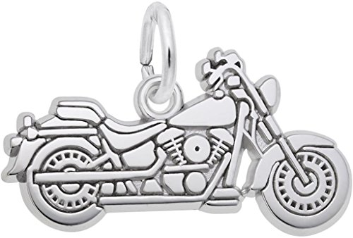 14k Gold Motorcycle Charm - Rembrandt Flat Motorcycle Charm - Metal - 14K White Gold