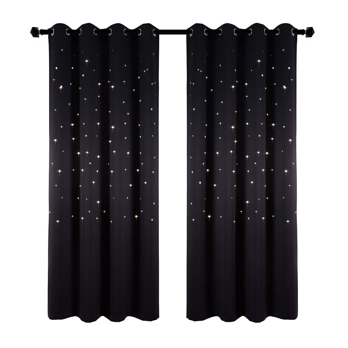 Star Wars Themed Kids Room Blackout Curtains, Kotile 2 Panels 63 Inch Length Grommet Thick and Soft Room Darkening Curtain with Laser Cutting Stars, Perfect for Baby Nursery, Royal Blue Ketaishi Textile