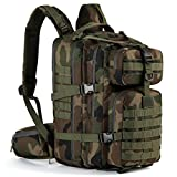 Gelindo Military Tactical Backpack, Hydration Backpack, Army Molle Bug-Out Bag, Small Rucksack for Hunting, Survival, Camping, Trekking, School, 35L (CP-Green)