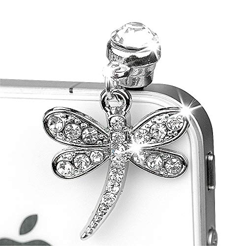 ip255-B Luxury Crystal Dragonfly Anti Dust Plug Cover Charm for 3.5 MM Ear Jack iPhone 4 4S 5 5S