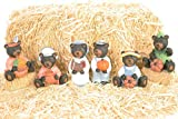 Slifka Sales Co. Harvest Bears Midnight Black 4 inch Resin Stone Collectible Figurines Set of 6