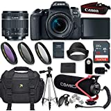 Canon EOS 77D DSLR Camera with Canon 18-55mm Lens + Comica Super-Cardioid Condenser Lite Microphone + 32GB Memory + High Def Filter Kit + Accessory Bundle