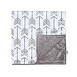 Towin Baby Arrow Minky Double Layer Receiving Blanket, Grey 30''x30'' …