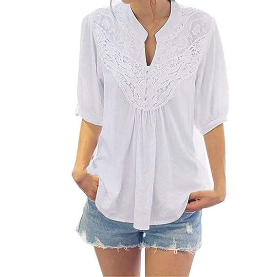 Luckycat Moda para Mujer de Encaje de Manga Media Camisa Casual Blusa Suelta Gasa Tops Camiseta: Amazon.es: Ropa y accesorios