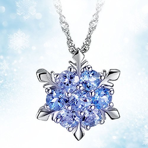 - Women Girls Frozen Snowflake Light Blue Crystal Pendant Necklace Winter Snow Ice