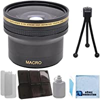 Elite Series 0.17x Xtreme Super High Definition Fisheye Lens - 52/58MM with Deluxe Lens Accessories Kit for Nikon D3000 D3100 D3200 D5000 D5100 D5200 D7000 D7100 D7200 D600 D610 D700 D800 D90 DSLR