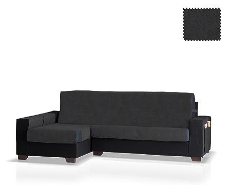 JM Textil Funda de sofá Chaise Longue Pharma Brazo Izquierdo, Tamaño Normal (245 Cm.), Color Negro