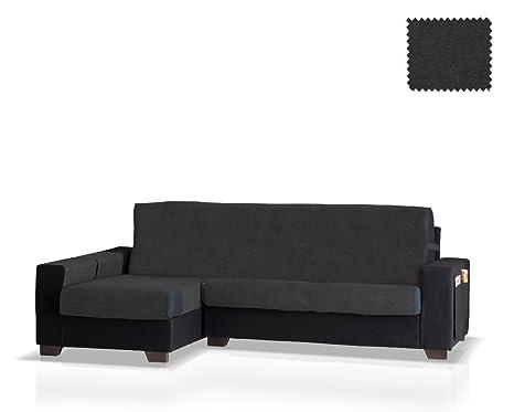 Funda de sofá Chaise Longue Pharma Brazo Izquierdo, Tamaño normal (245 Cm.), Color Negro