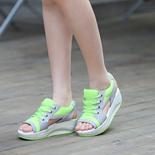 Running Women Trainers La Peep Mesh Vogue Verde Up Platform Sandali Toe Lace qfvfRzS