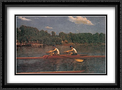 The Biglin Brothers Racing 2X Matted 38x28 Large Black Ornate Framed Art Print by Eakins, Thomas