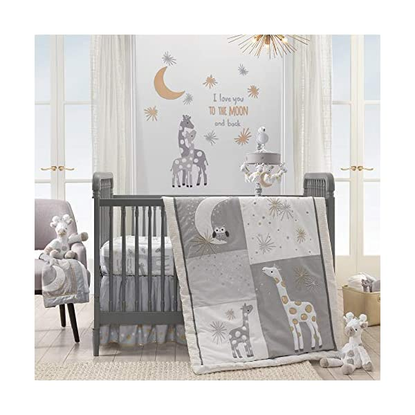 Lambs & Ivy Signature Moonbeams Giraffe Stars 3 Piece Crib Bedding Set, Gray/Gold