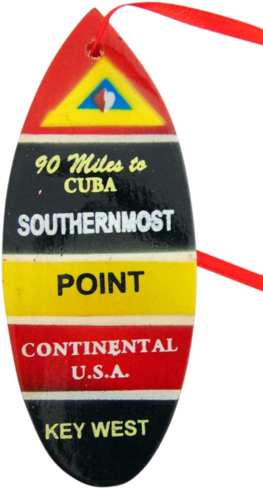 Southernmost Point Surfboard Ornament Christmas Tree Decor Souvenir of Key West Florida, 4 Inch