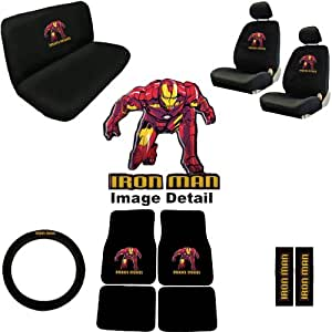 iron man marvel comics auto accessories interior combo kit gift set 15pc seat covers. Black Bedroom Furniture Sets. Home Design Ideas