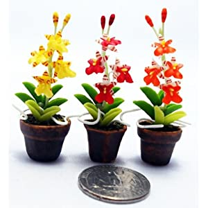 Silk Flower Arrangements Dollhouse Flower Miniature Oncidium Orchids in Pots Set Made of Artificial Clay Realistic it Very Cute. (3 Pots) by Thai