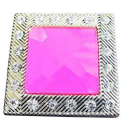 Set of 2 Light Fuschia Square Rhinestone Crystals Conchos Bling Headstall TACK - Fuschia Crystals Set