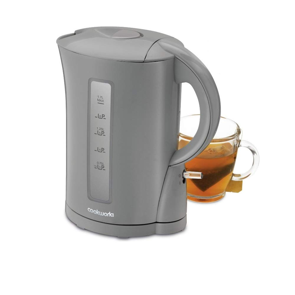 CookWorks 2.2kW 1.7L Cordless Jug Boil Dry Protection Kettle Grey