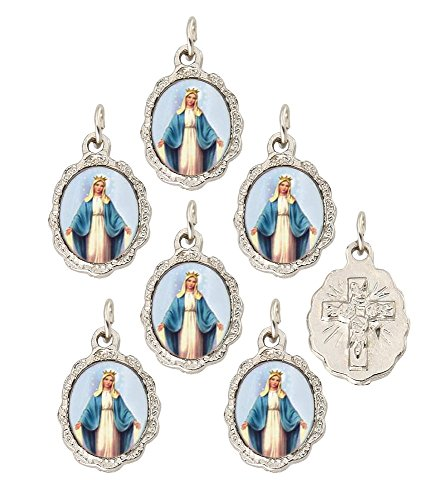 Grace Medal Pendant - Catholica Shop Catholic Religious Wear Our Lady of Grace Silver Tone Small Medal Pendant - Lot of 6