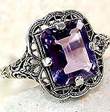 Huge Natural 3.5Ct Tanzanite 925 Silver Ring Women Wedding Engagement (Purple #9)