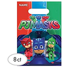Mozlly Multipack - Amscan PJ Masks Loot Bags - 9 x 6.5 inch - Treat Bags - Cutout Handles - Vibrant Graphics - Catboy, Owlette, Gekko - Novelty Character Party Supplies (8pc Set) (Pack of 6)