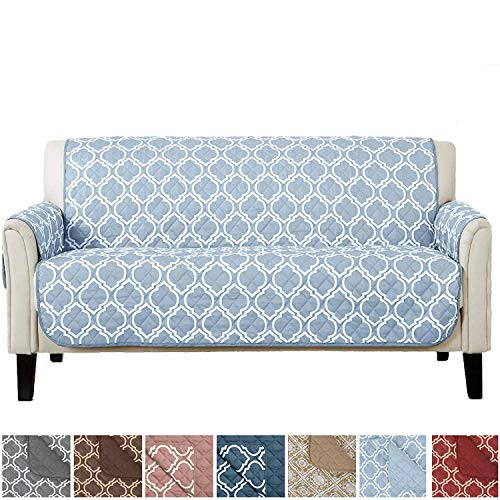 Adalyn Collection Deluxe Reversible Quilted Furniture Protector. Beautiful Print on One Side/Solid Color on The Other for Two Fresh Looks. by Home Fashion Designs Brand. (Sofa/Couch, Marine Blue)