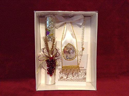 First Holy Communion Grapes/Embossed Medallion Candle Set for Boy - Estuche para Primera Comunion para niño