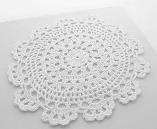 Fennco Styles Handmade Medallion Crochet Lace Round Cotton Placemat Doilies - 4 Pack (10-inch, -