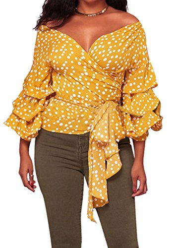 Mr.Seven Womens V Neck Polka Dot Off Shoulder Front Tie Wrap Blouse Tops Shirt(Orange,2XL) Belted Wrap Top