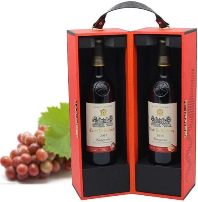 Compra Caja de vino 2 Botellas 750 ML Con PU Cuero Viaje Viaje Manija superior Vino Vintage Caja de vino ForCarrier Estuche Vino rojo Champán Almacenamiento Caja de empaque de regalo for