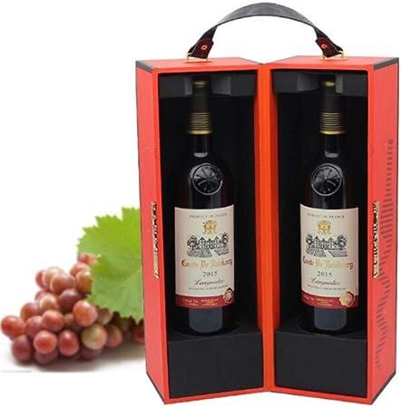 Compra Caja de vino 2 Botellas 750 ML Con PU Cuero Viaje Viaje Manija superior Vino Vintage Caja de vino ForCarrier Estuche Vino rojo Champán Almacenamiento Caja de ...