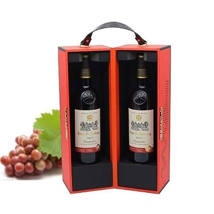 Compra Caja de vino 2 Botellas 750 ML Con PU Cuero Viaje ...