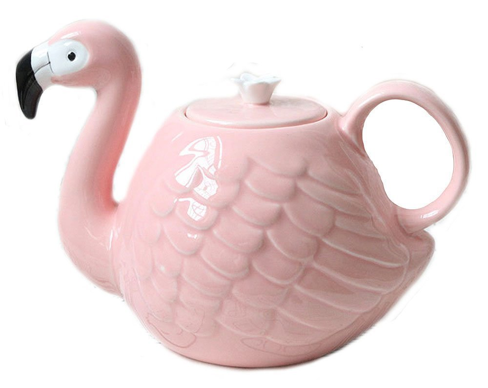 Anroll 3D Animal Flamingos Bird Teapots Super Beauty ins Girl Pink Ceramic Cute Animal Coffee Mug Tea Pot Cup Birthday Gift Decoration (Teapot)