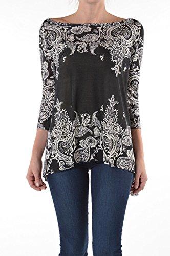 Young Contemperory Fashion Black White Paisley Print Blouse 3/4 Sleeve (Medium)