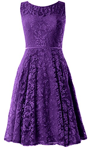 MACloth Women Lace Cocktail Dress Vintage Knee Length Wedding Party Formal Gown Morado