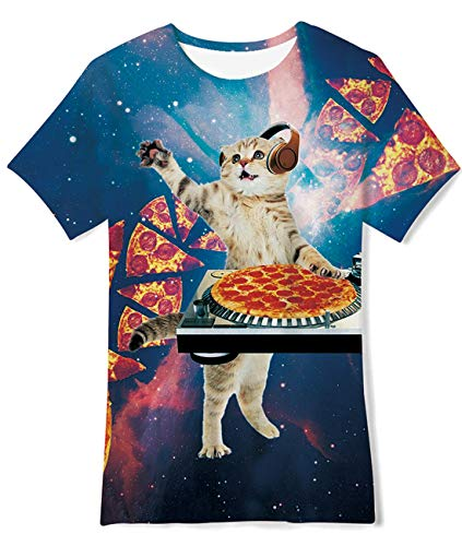 Little Boys Girls Graphic Tees Funny Pizza Cats Printed Short Sleeve Kitty Pattern T Shirt Tops for Primary School 6-8 Years