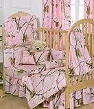 Realtree AP Pink Camo 6 Piece Crib Set includes (Crib Fitted Sheet, Crib Bumper Pad, Crib Headboard Pad, Crib Comforter, Crib Bedskirt and Crib Diaper Stacker)- Save Big By Bundling!