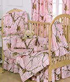 Realtree AP Pink Camo 5 Piece Crib Set includes (Crib Fitted Sheet, Crib Bumper Pad, Crib Headboard Pad, Crib Comforter, and Crib Bedskirt)- Save Big By Bundling!