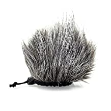 CamDesign Furry Microphone Windscreen Wind Muff for Portable Digital audio Recorders up to 10cm X 14cm(W x D) fits Zoom H4n, H5, H6, Tascam DR-40, DR-05, DR-07, Roland R-05, Olympus LS-100 & carry bag