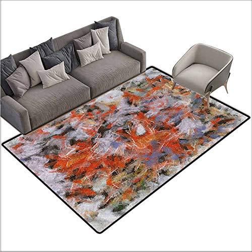 (Anti-Slip Coffee Table Floor Mats Modern,Abstract Paint Brush Pattern 60