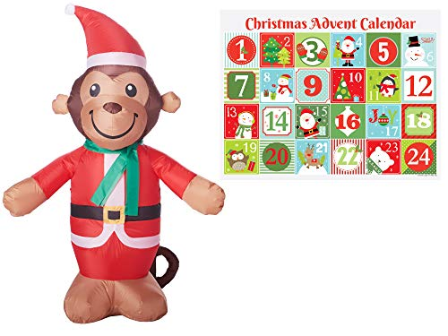 24 Inflatable Monkey - Holiday Shop Christmas Inflatables Outdoor Decoration Advent Calendar Gift Set, Christmas Inflatable Decoration, Outdoor Indoor Decoration, Lawn Christmas Decor (Monkey)