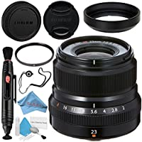 Fujifilm XF 23mm f/2 R WR Lens (Black) 16523169 + 43mm UV Filter + Lens Pen Cleaner + Fibercloth + Lens Capkeeper + Deluxe Cleaning Kit Bundle