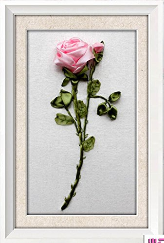 Ribbon embroidery Kit,Fanryn 3D Silk ribbon embroidery Pink Rose Flowers pattern design Cross Stitch Kit Embroidery for beginner DIY Handwork Home Decoration Wall Decor 25x35cm (No frame)