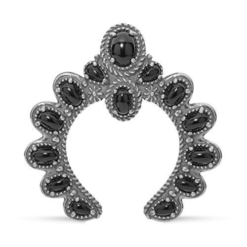 Agate Enhancer - American West Sterling Silver Black Agate Naja Pendant Enhancer