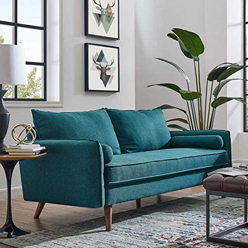 Modway Revive Contemporary Modern Fabric Upholstered Sofa In Teal