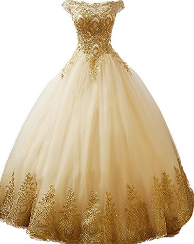 BessDress Gold Lace Appplique Quinceanera Dresses Off The Shoulder Prom Ball Gown (Quinceanera Prom Gowns)