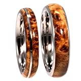 Black Ash Burl, Titanium Pinstripe Ring, His and Hers Wedding Band Set, M10-F7.5