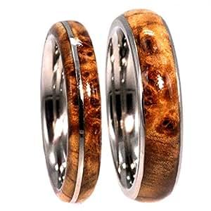 Black Ash Burl, Titanium Pinstripe Ring, His and Hers Wedding Band Set, M12.5-F4.5
